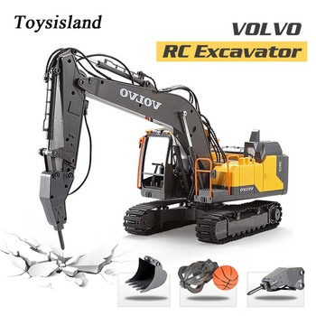 RC Excavator 2.4Ghz Remote Control Crawler Excavator VOLVO Hydraulic Engineering Machine Diecast Toy Car Model for Gift Kids wooden hydraulic excavator model handmade scientific experiments steam