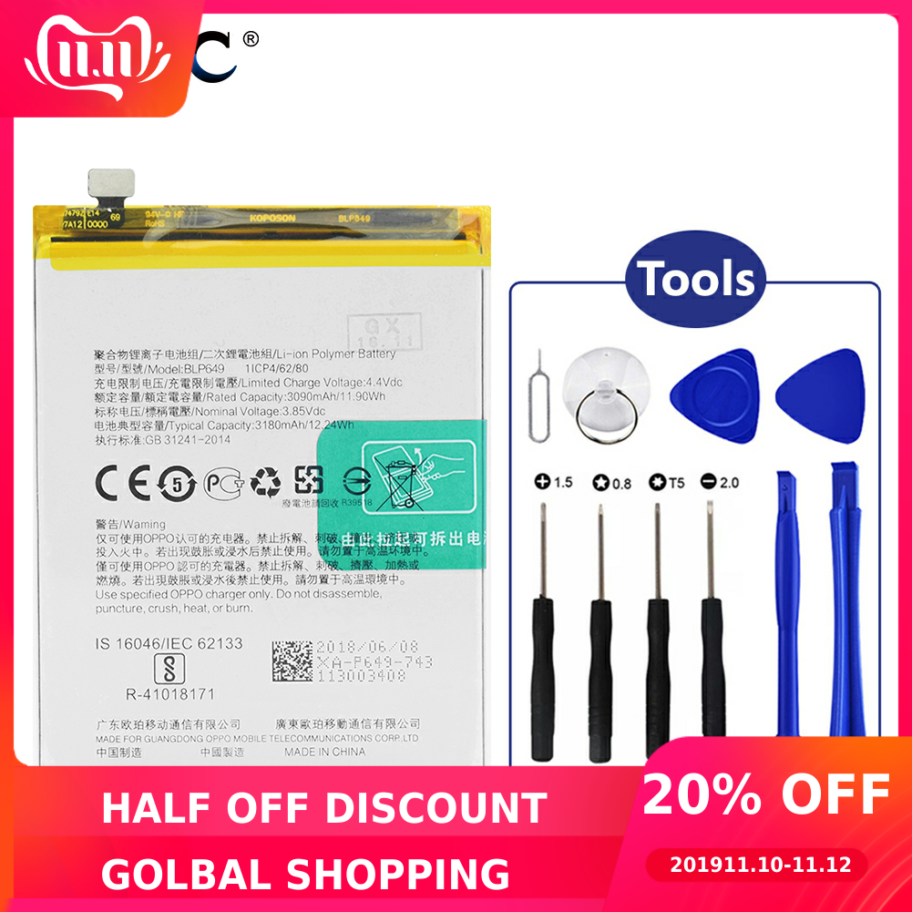YCDC Original Replacement Li-ion Lithium  Original BLP649 Battery For OPPO A83 A83T A83M Phone 3180mAh + Opening Tools
