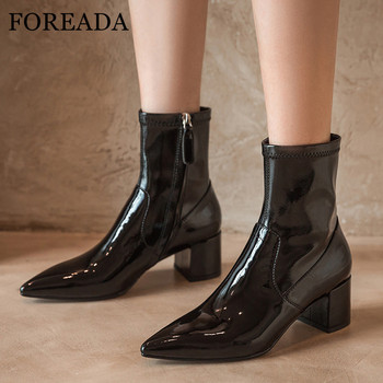 FOREADA Med Heel Ankle Boots Woman Boots Chunky Heel Shoes Zipper Pointed Toe Ladies Short Boots Autumn Winter Beige Black 39 black ankle boots for women chunky boots high heel autumn winter pointed toe booties woman fashion zipper black boots 2019