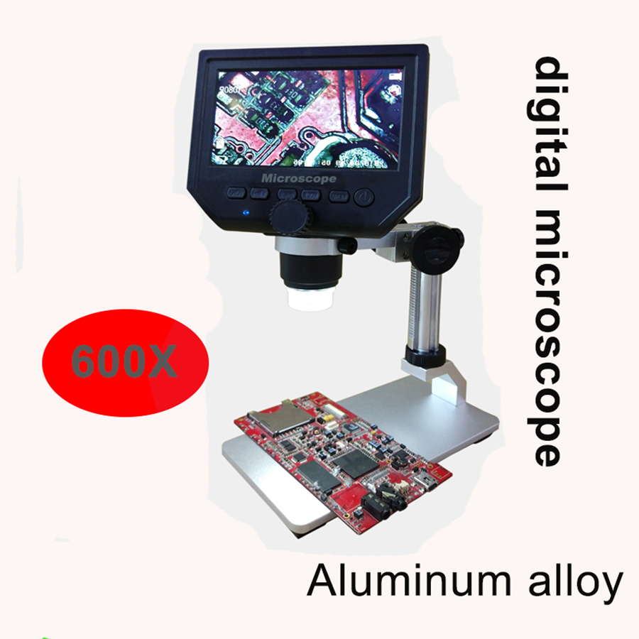 600X digital microscope electronic video microscope <font><b>4.3</b></font> inch HD <font><b>LCD</b></font> soldering microscope phone repair Magnifier + metal stand image