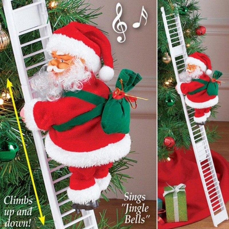 Прекрасный Рождественский Санта Клаус Электрический подъем подвесная лестница украшения Рождественская елка украшения забавные новогодн...