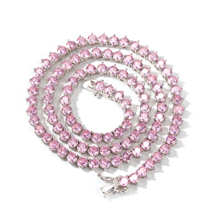 Image 5 - UWIN New Style 4mm Pink CZ Tennis Chain With Women Fashion Gift Necklaces Hiphop Bling Bling Cubic Zirconia Hiphop Jewelry