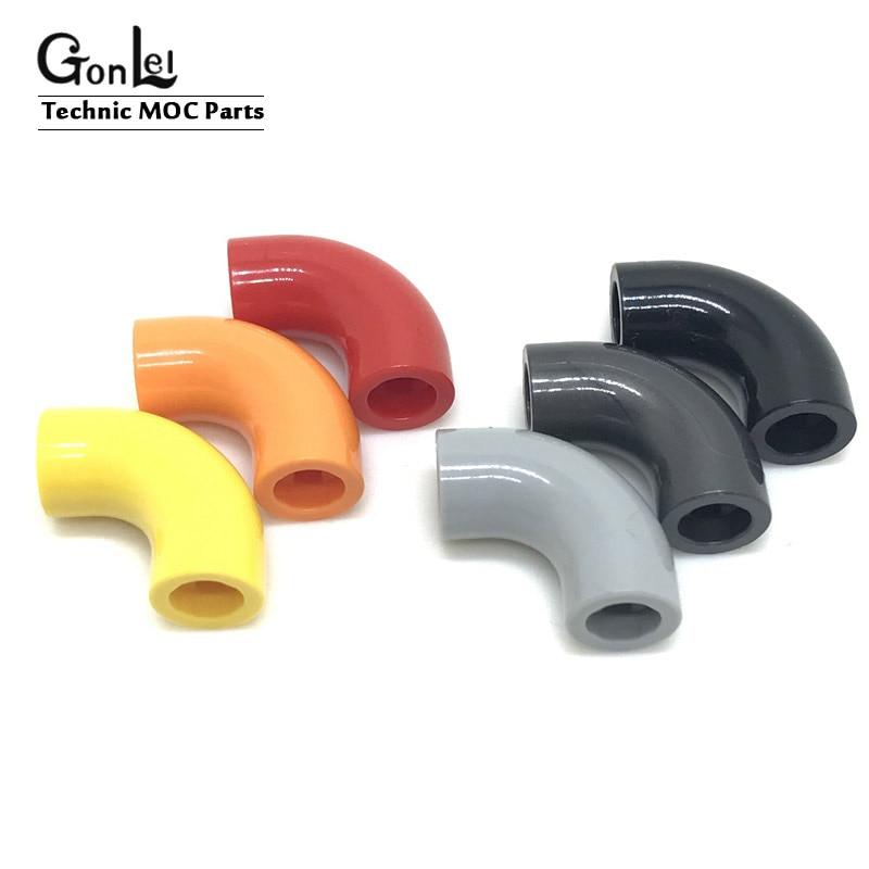 2x brick round tuyau coudé 1x1 90° elbow axle hole noir//black 25214 NEUF Lego