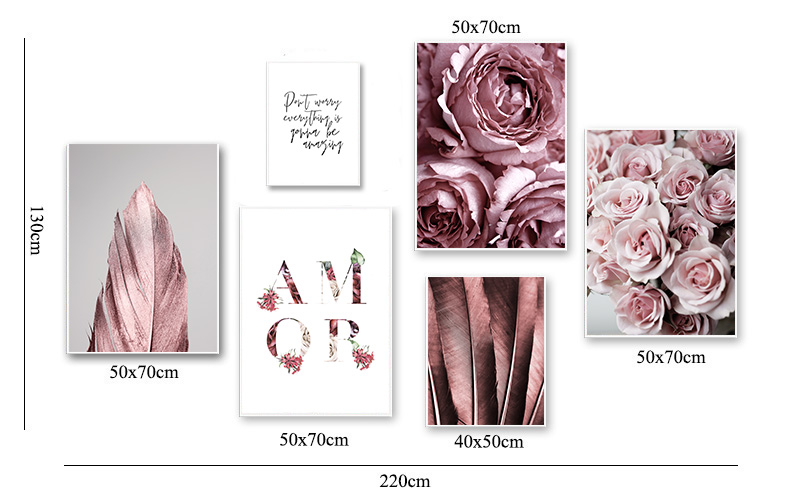 Scandinavian Fashion Poster Rose Flower Feather Nordic Style Wall Art Canvas Print Painting Modern Living Room Decor Picture