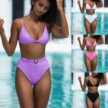 Belt Bikini Bathing-Suit Purple Padded-Bra Bandeau High-Waist Push-Up Solid Women 2pcs-Set