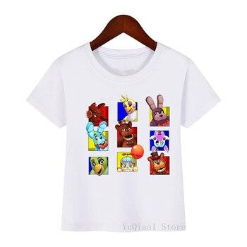 Camiseta de five night at fredy, camisetas de dibujos animados divertidos para niños, camiseta de verano para niños, ropa para bebés pequeños, camisetas blancas bonitas