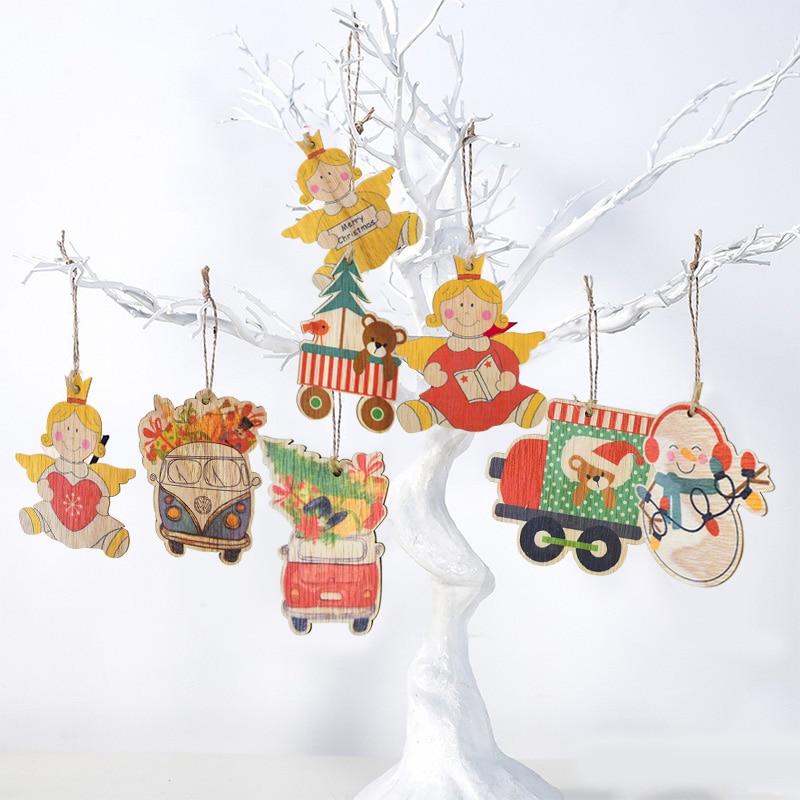 6 teile/schachtel Holz Anhänger Ornamente Weihnachten Baum Ornament DIY Holz Handwerk Kinder Geschenk für Home Weihnachten Party Dekorationen Navidad
