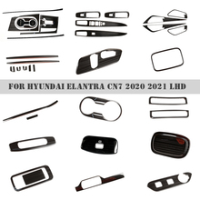 Car Interior Drawing black Stainless steel Decoraton Cover Trim For Hyundai Elantra CN7 2020 2021 LHD  Door Window Armrest Cover