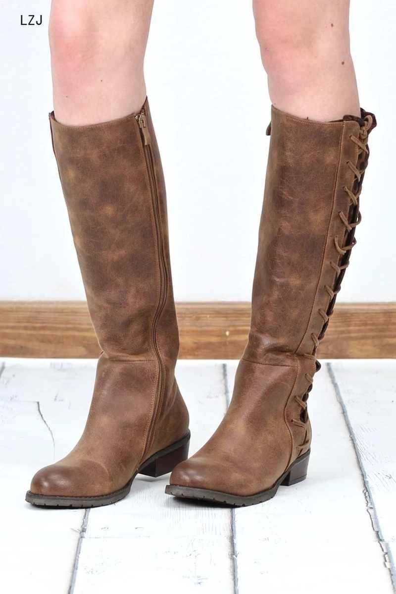 LZJ 2019 ใหม่รองเท้าผู้หญิงรองเท้าสีดำเหนือเข่ารองเท้าบูทเซ็กซี่หญิงฤดูใบไม้ร่วงฤดูหนาว Lady ต้นขาสูง Botas mujer ขนาด 35-43