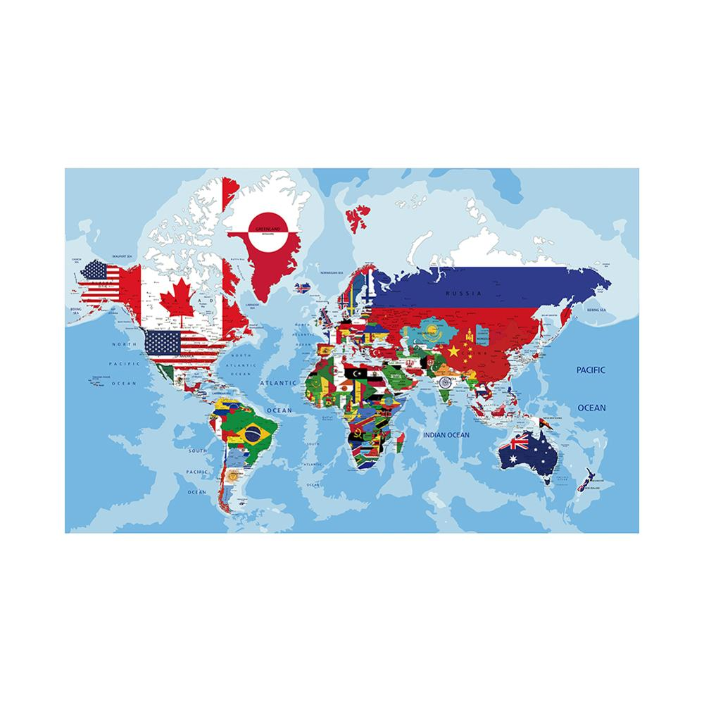 150x100cm Non-woven World Physical Map With National Flags Plate For Office School Wall Decor