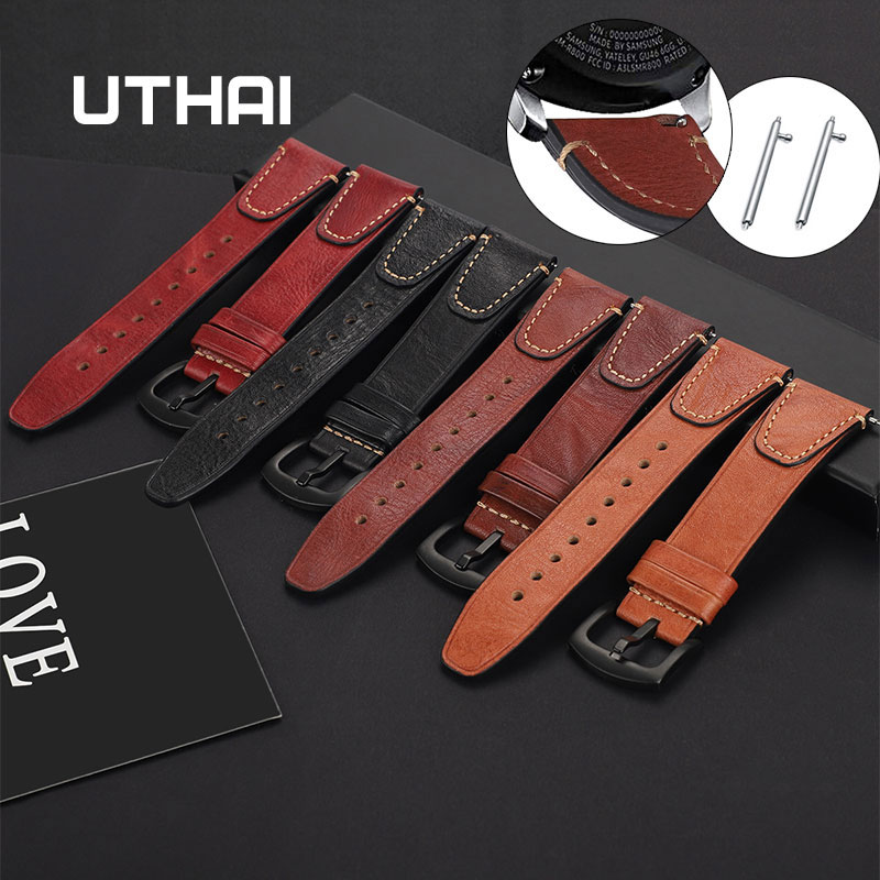 Cowhide Leather Watch Strap 22mm For Samsung Galaxy Watch 46mm For Huawei Watch GT 22mm Women Watchbands Men Strap Quick Release