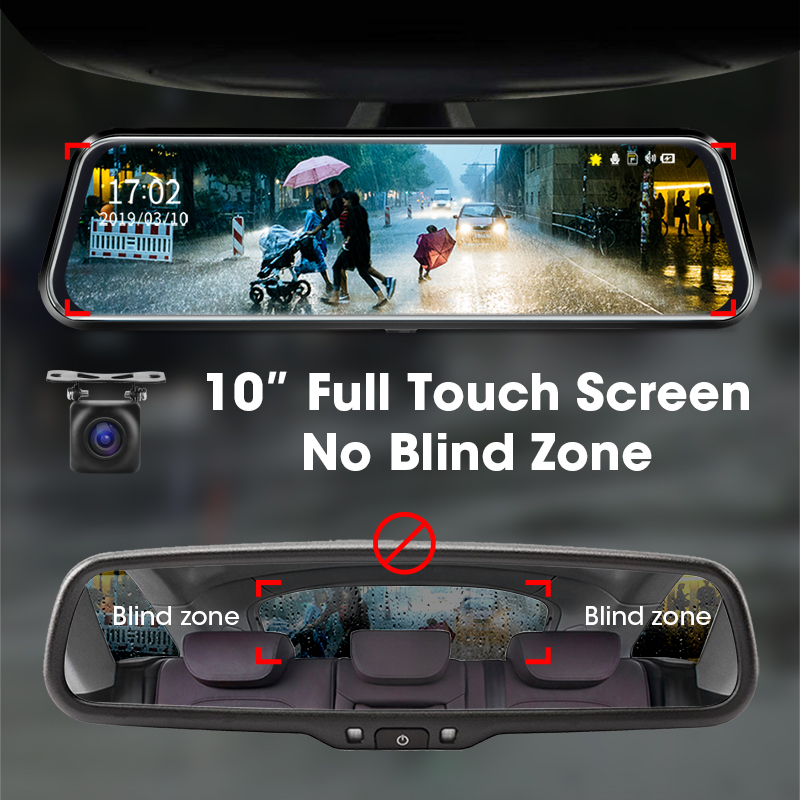 Jansite 10 inches Touch Screen 1080P Car DVR stream media Dash camera Dual Lens Video Recorder Rearview mirror 1080p Rear camera 3