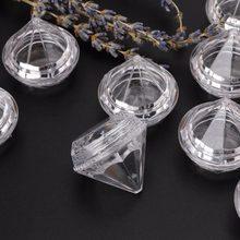 10 sztuk 5g przezroczyste Mini puste diament kosmetyczne pojemnik na szminkę z tworzywa sztucznego w kształcie diamentu jasne małe szminka przypadku wargi pudełko