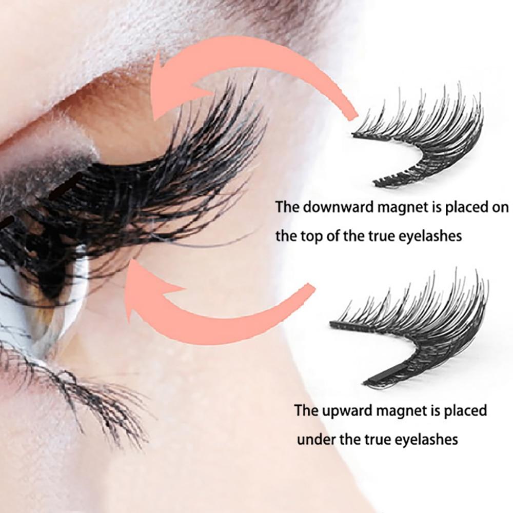 LEKOFO 4 Pairs 5 Magnet Magnetic False Eyelashes Handmade Mink Eye Lashes faux cils magnetique 3D Natural magnetic Lashes WSP 4