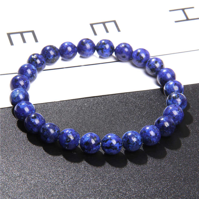 Naturalny biały Jad chalcedon bransoletki niebieski klejnot kamień czakra bransoletki damskie polerowany 8 mm buddyzm wiadro koralik biżuteria dla mężczyzn