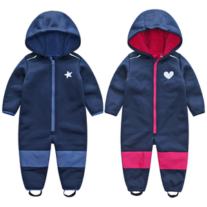 Image 3 - kids / boys softshell jumpsuit, girls overalls with fleece lining, windproof & waterproof