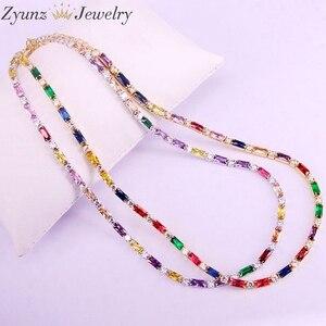 Image 1 - 5 pçs, cz corrente colar feminino gargantilha colorido cz cristal zircônia ouro/prata cor colar para mulher