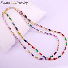 5PCS, CZ chain necklace women choker Colorful cz crystal zirconia Gold /Silver Color necklace for women