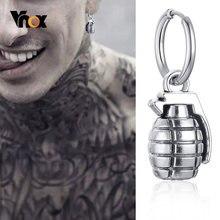 Orecchini a forma di granata gotica Vnox per uomo donna, Punk Rock Cool Metal Soldier Real Man Ear Jewelry, Piercing Hoop, orecchini a Clip