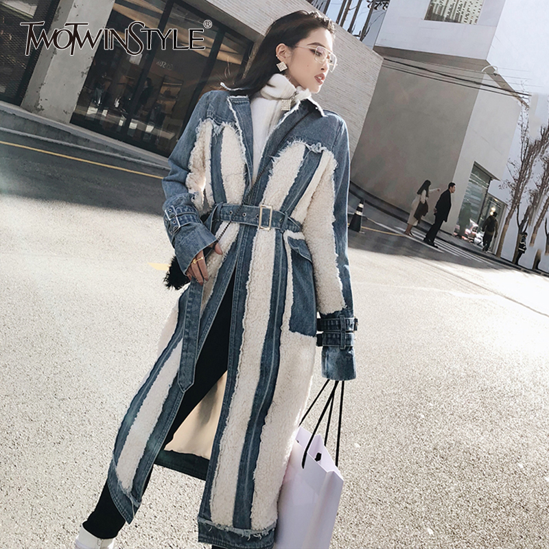 TWOTWINSTYLE Hit Color Patchwork Denim Tassel Trench Coats For Women Lapel Collar High Waist Sashes Windbreakers Autumn New 2019