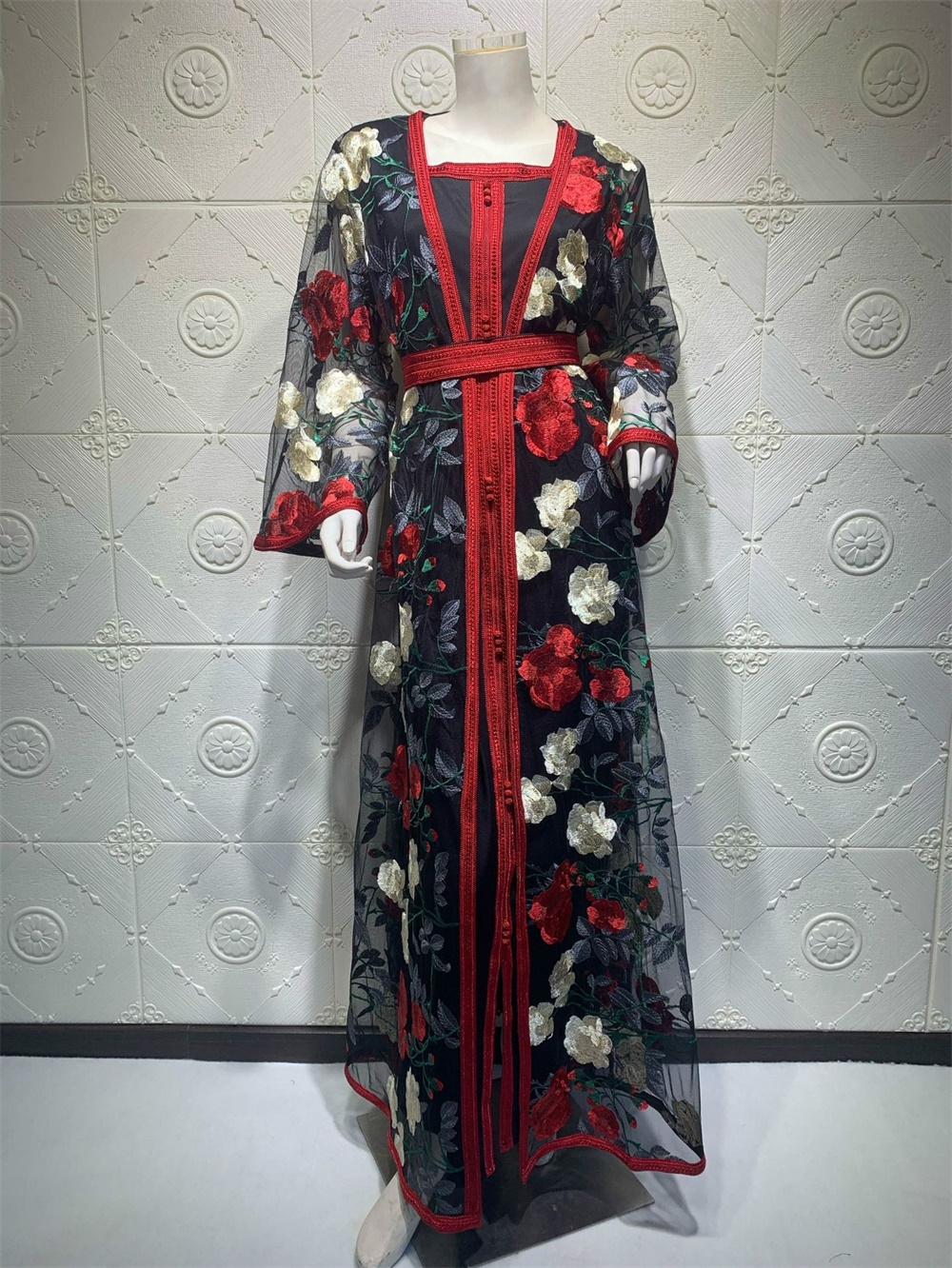 Gorgeous Floral Embroidered Long Abaya