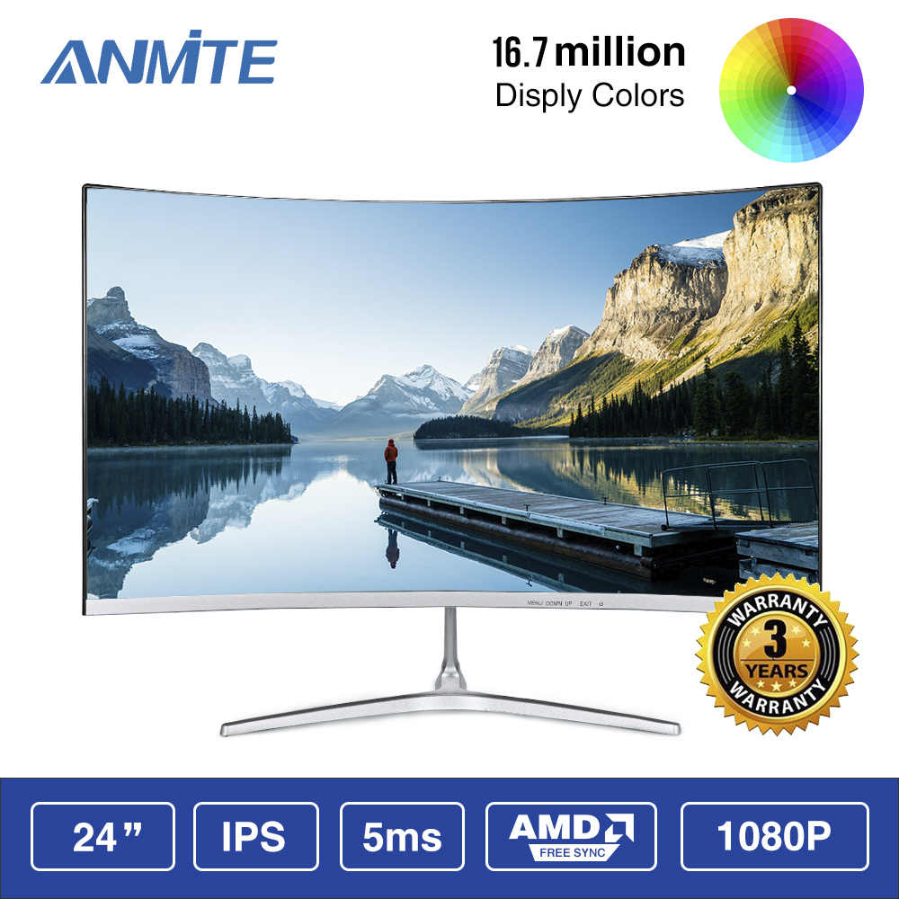 Anmite 23.8 インチ FHD Hdmi HDR 湾曲した TFT 液晶モニターゲームゲーム競争 Led コンピュータ表示画面 HDMI/VGA