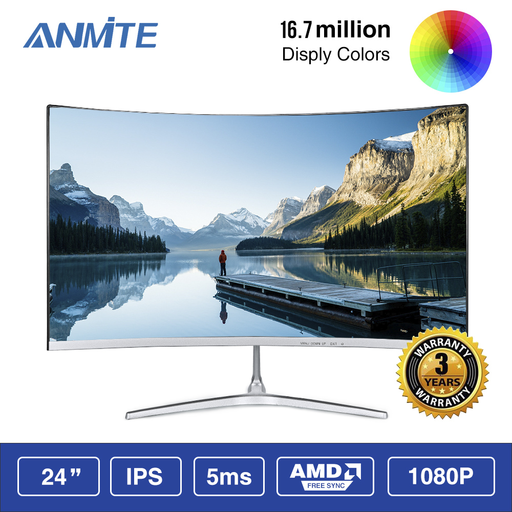Anmite 23.8 <font><b>inch</b></font> FHD Hdmi HDR Curved TFT <font><b>LCD</b></font> Monitor Gaming Game Competition Led Computer <font><b>Display</b></font> Screen HDMI/VGA image