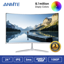 Anmite 23.8 inch FHD Hdmi HDR Gebogen TFT LCD Monitor Gaming Game Concurrentie Led Computer Scherm HDMI/VGA