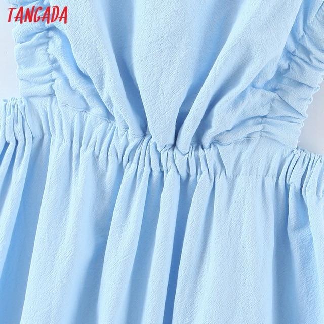 Tangada Women Solid Color Backless Beach Midi Dress Strap Sleeveless 2021 Fashion Lady Dresses Vestido 1M32 4