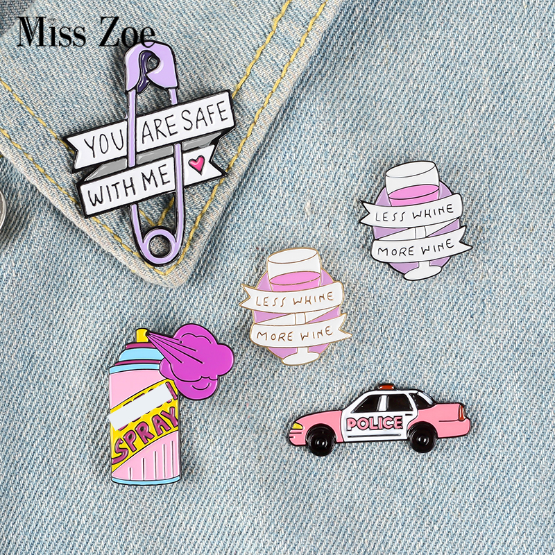 Pink Purple Enamel Pin Car Spray Wine Glass Paper Clip Badge Brooch Lapel pin Denim Jean shirt bag Cartoon Jewelry Gift for girl(China)