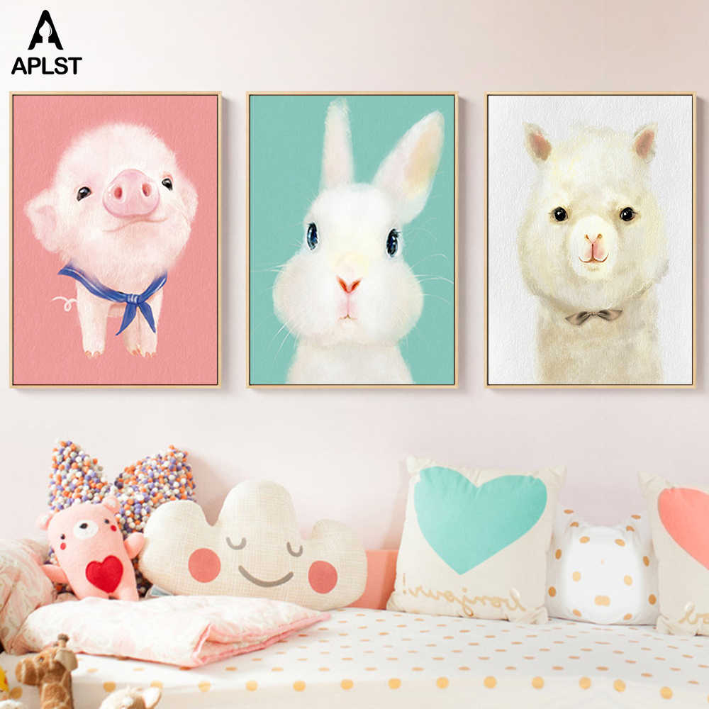 Cute Fun Canvas Print Wall Art Cartoon Animal Poster Nursery Painting Nordic Baby Kid Decoration Pictures Children Bedroom Decor