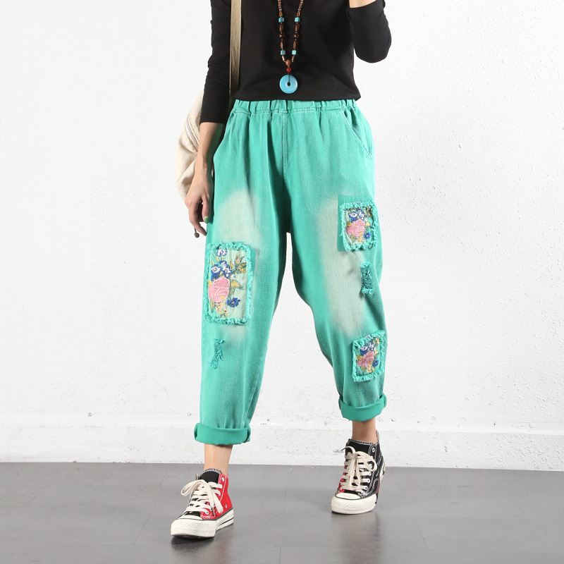 Embroidery Cowboy Pants Women Candy Colors Denim Harem Trousers Plus Size Elastic Waist Ripped Wide Leg Jeans Mezclilla Mujer