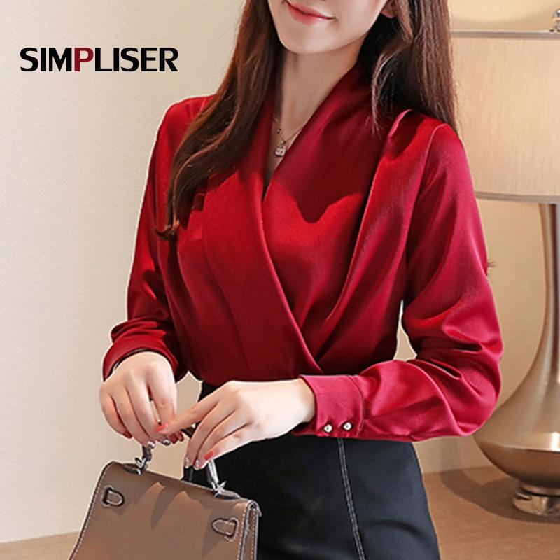 С v-образным вырезом из искусственного шелка Блузки Женская одежда для работы, шифоновые рубашки размера плюс Femme Blusas белого, красного и черн...