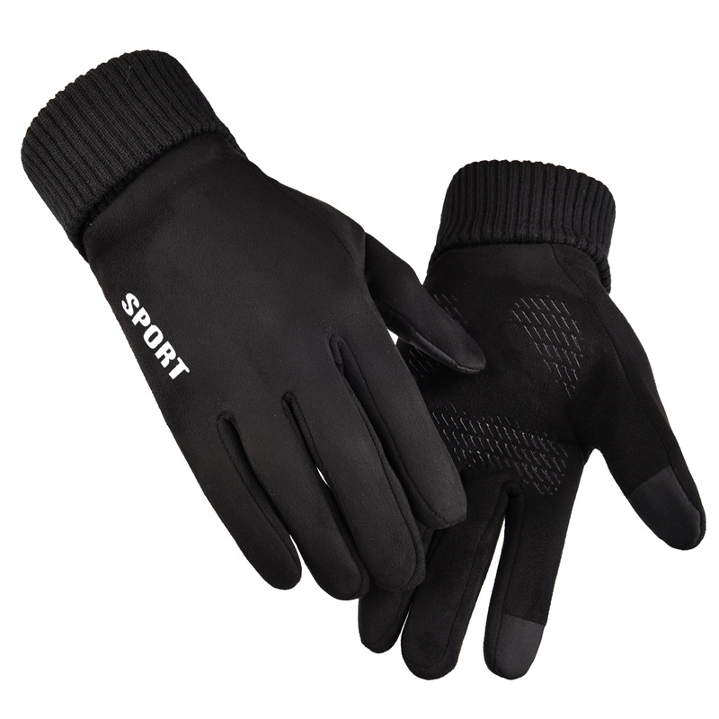 Winter Suede Gloves Men Warm Anti-skid Mittens Velvet Sport Touch Screen Glove Male Outdoor Windproof driving riding Gloves title=