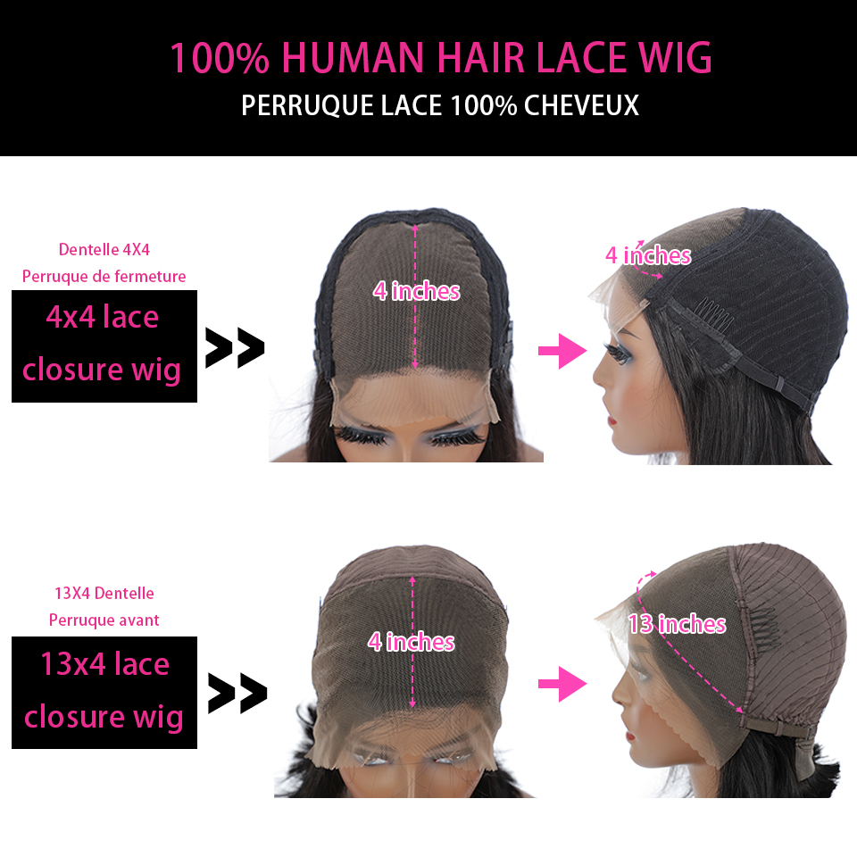 13x4 Lace Front  Wigs  Straight  Wigs 360 Lace Frontal Wig Pre Plucked 4x4 Lace Closure Wigs 4