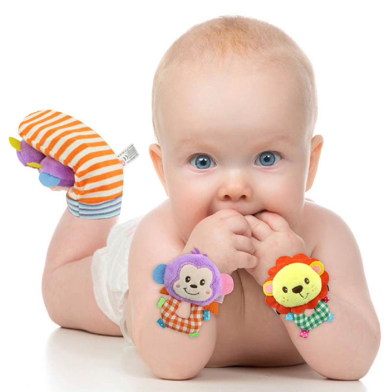 1Pcs Cartoon Panda Infant Baby Wrist Rattles Toys Stuffed Plush Animals Toy Baby Hand Wrist Strap Newborn Plush Elephant Dolls