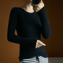 women's sweater wool solid black pullover round neck thin knitted tops long sleeves short slim fashion elegant jacket black round neck flared sleeves blouse