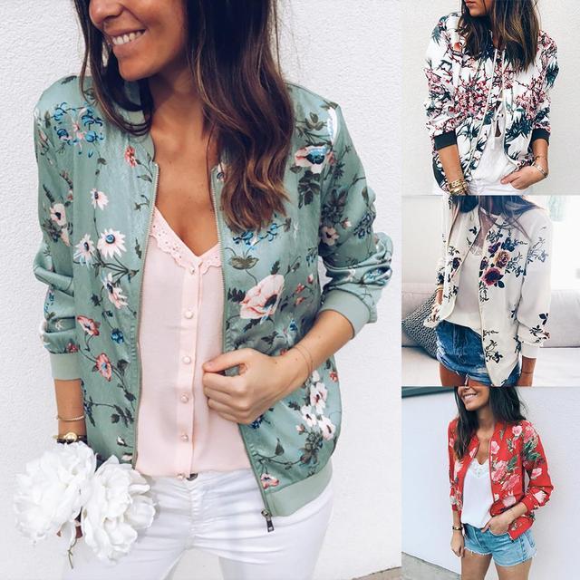 Fashion Flower Leaves Print Jacket Long Sleeved Zipper Coat  4