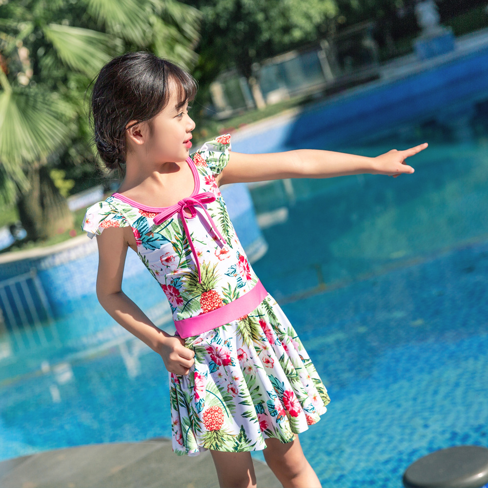 2019 Children Siamese Swimsuit Female Baby Hot Springs Skirt Swimwear Small Pineapple Cute Princess Olive Flower 1030