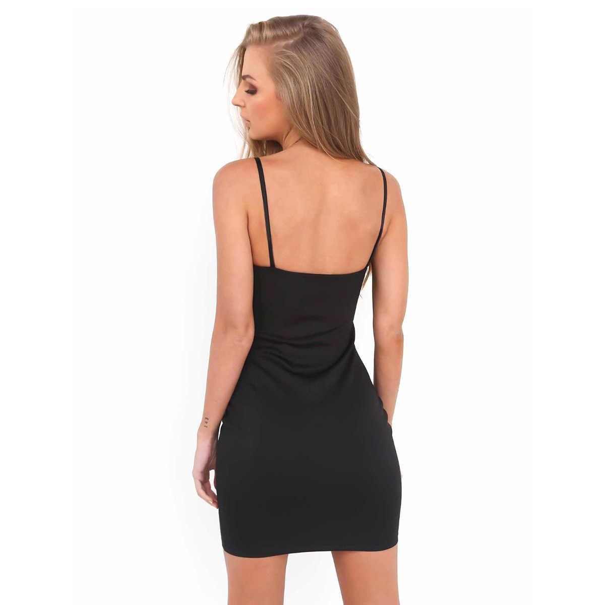 Été femmes Sexy doux robe moulante décontracté sans manches fête Club Mini Spaghetti sangle robe Vestidos pour femme gaine noire