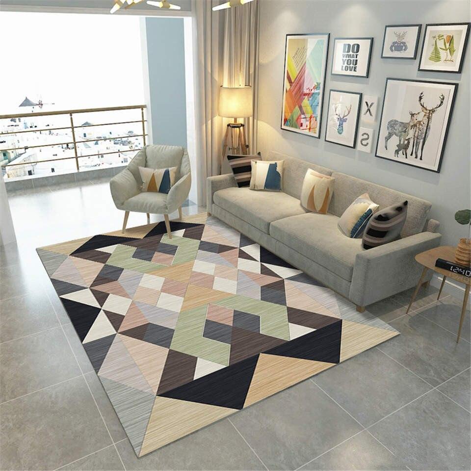 Modern Nordic Carpets For Large Living Room Color Geometric Pattern Big Rugs Polyster Carpet  Soft Velvet Fabric Entrance Mat