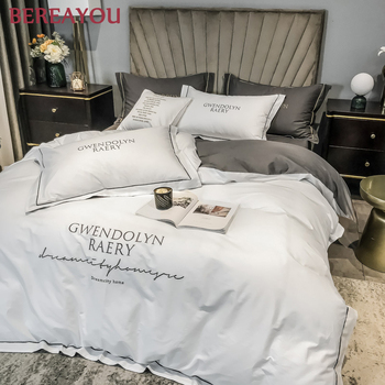 Egyptian Cotton Bedding Sets Soft Duvet Cover Bed Sheet Set Nordic Queen King size Bed Linen Luxury Satin Bed Set For Hotel 4PCS 100%cotton adult kids bedding set fashion casual bedding sets bed linen quilt duvet cover bed sheet for king queen twin bed