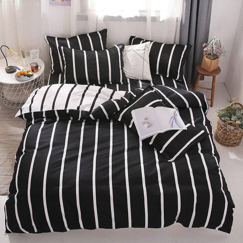 Image 5 - Cotton Bedding Set 4pcs With Duvet Cover Bed Sheet Pillowcase  Children Stripe Bed Linen Set King Queen Full Twin SizeBedding Sets