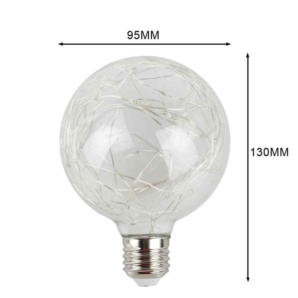 3D винтажный светодиодный светильник G95 Edison лампочка Ретро Арт Декор E27 85-265V Светодиодный светильник накаливания медная проволочная струна Звездная лампочка