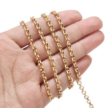 Cross-Chains Round-Link Jewelry-Making Gold-Tone Stainless-Steel for DIY 4mm-Width Unwelded