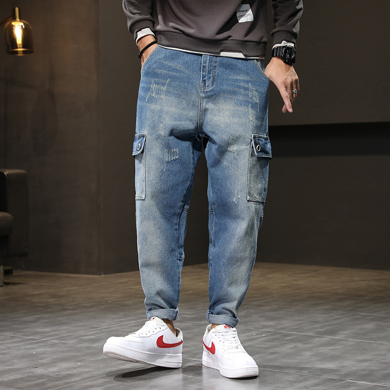Jeans Men Light Blue Baggy Harem Pants Loose Fit Streetwear Side Pockets Fashion Jeans for Men