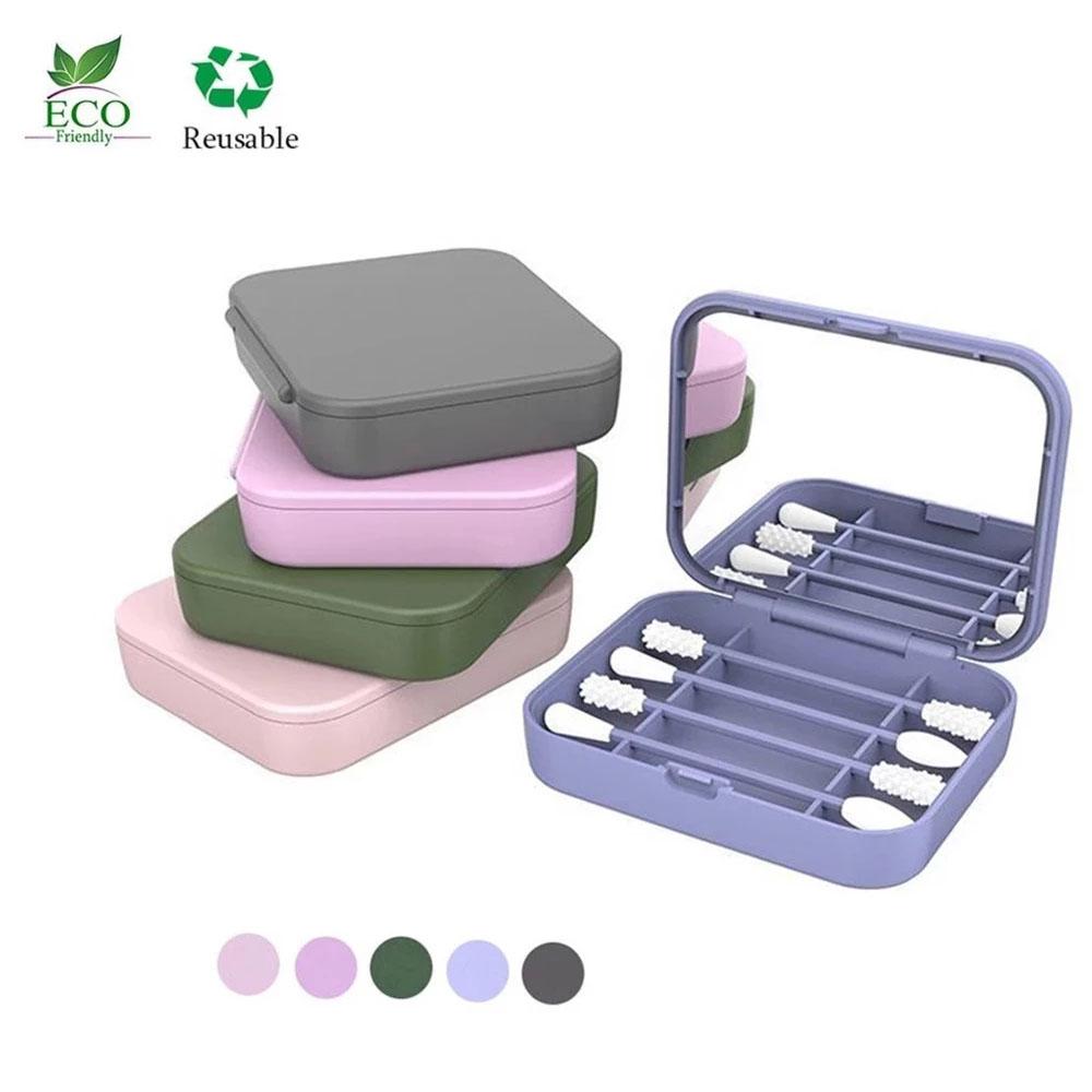 2Pcs/Box Reusable Cotton Swab Ear Cleanning Durable Makeup Swabs Sticks Soft Flexible Make Up Tools