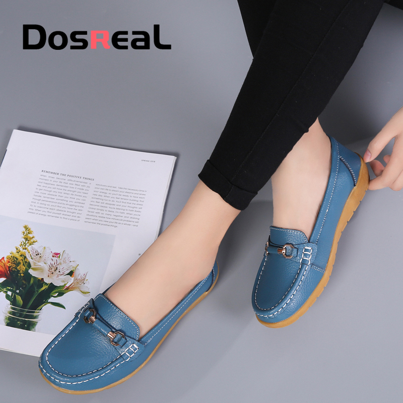 Dosreal Women Cow Leather Loafers Shoes Ladies Metal Buckle Flats Shoes Spring Comfortable Slip on Footwear