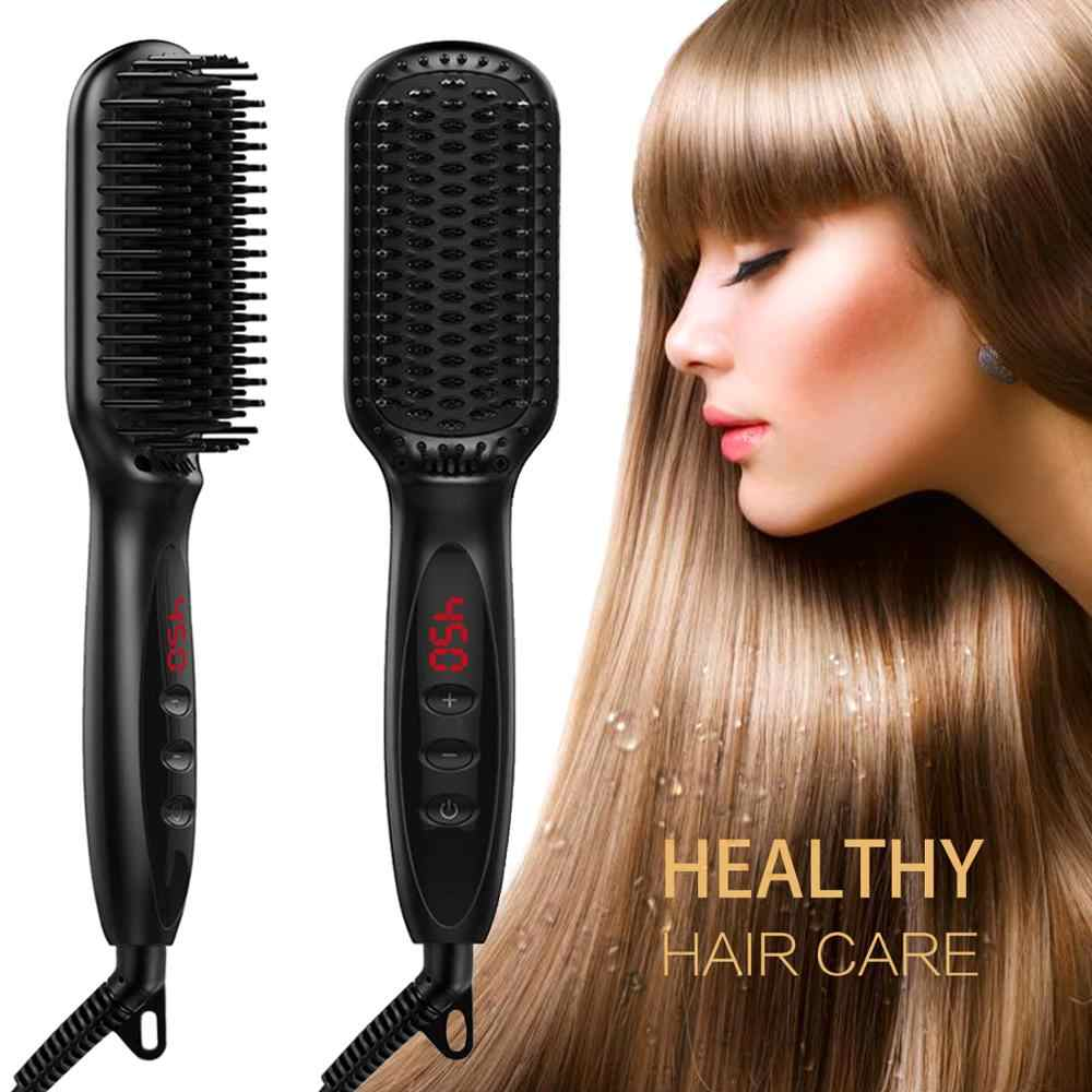 Hair Straightener Hot Comb Pro Lcd Heating Electric Ionic Straighten Hair Styles Anti Static Ceramic Straightening Beard Comb Straightening Irons Aliexpress