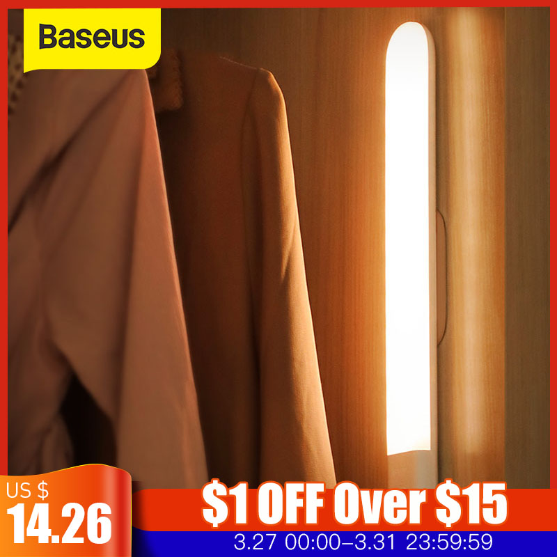 Baseus PIR LED Wardrobe Light Body Motion Sensor Light USB Rechargeable LED Night Lamp Kitchen Removable Magnetic Strip Lights